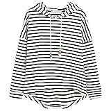 VJGOAL Mujeres otoño Plus Size Moda Raya con Bolsillos Casual Sweatshirt Manga Larga Crop Jumper Pullover Tops(L,Blanco)