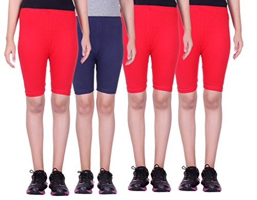 Alisha Stretchable Cycling Shorts - Pack of 4 (RED_NVY_RED_RED_32)