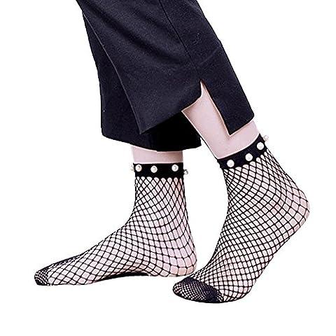 Frauen Knöchel Hohe Strumpfhosen Hochelastische Fischnetz Socken Schwarz 3 Pack (Tan Perlen Set)