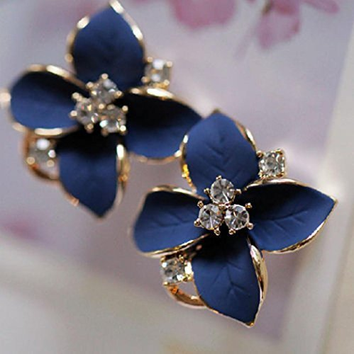 Exsiveme 1Pair Flower Earring Fashion Women Ladies Rhinestone Ear Stud Earring(blue)