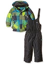 Peak Mountain Exop Conjunto de ropa de esquí para niño, traje, Niño, color negro y verde claro, tamaño 6 años (talla del fabricante: 6)