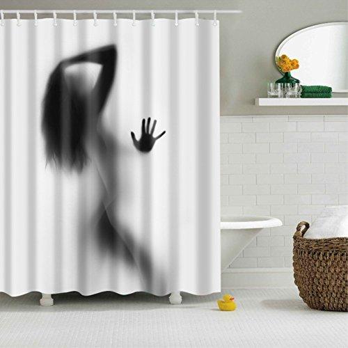 Nyngei Duschvorhang Sexy Frau Shadow 12 Haken Bad Dekorationen Badezimmer Dekor Sets mit Haken Hochzeit Geschenke für Kunstdruck Polyester Stoff