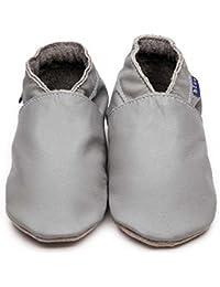 955fb64293bd Inch Blue Girls Boys Luxury Leather Soft Sole Pram Shoes - Plain Grey