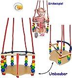 1 Stück _ DELUXE - Kinderschaukel / Schaukel aus Holz - mit Gurt - incl. Name - Gitterschaukel - mitwachsend & verstellbar - leichter Einstieg ! - Babyschaukel - verstellbare Kleinkindschaukel - Holzgitterschaukel für Innen und Außen - Indoor Outdoor - mit Sicherheitsstäben / bunte Stäbe - Holzbabyschaukel - Garten oder im Haus - Holzschaukel Baby Kinder