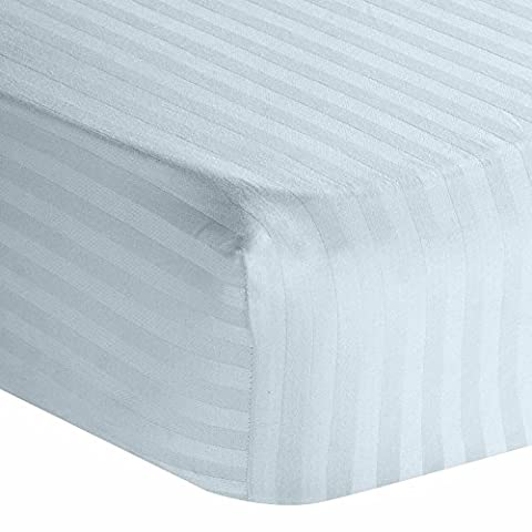 Homescapes 100% Egyptian Cotton Satin Stripe Fitted Sheet Blue Double Size 330 Thread Count Percale Anti Dust Mite