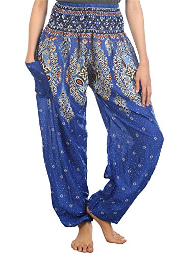Lofbaz Damen Haremshose mit gesmoktem Bund Floral Blau S