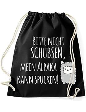 Jutebeutel Turnbeutel Sportbeutel Stofftasche Baumwolltasche Tasche Rucksack mit Kordel Gymsack Mein Alpaka kann...