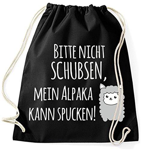 Mein Zwergenland Jutebeutel Mein Alpaka kann spucken!, 12 L, Schwarz Schwarz