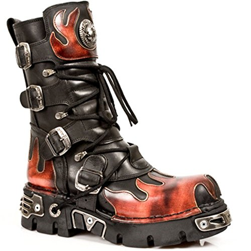 New Rock Boots Unisexe Botte - Style 591 S1 Rouge Rouge