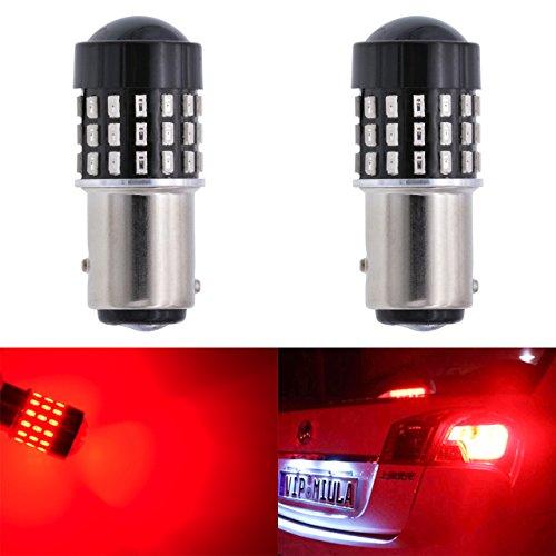 katur 2Super Hell 1157BAY15D 101610341196752894301454smd Objektiv LED Glühbirnen Ersatz Drehen Bremse Signal Schwanz Back Up Parking Zip 3.1W DC 12V–24V (Kontakt Rot Objektiv)
