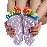 Sportmaking High Quality Store Womens 5-Toe Socks Yoga Gym Non Slip Massage Full Grip Socks (Purple)