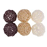 Set di 6pcs Wicker Rattan Balls Wedding Party Decorazioni Natalizie Appeso Wobble Palla di Natale - 6 Pezzi 7 cm