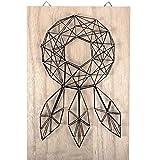 Kit String Art modèle Attrape-rêve forme rectangle en bois brut 20 x 30 cm pour la déco DIY
