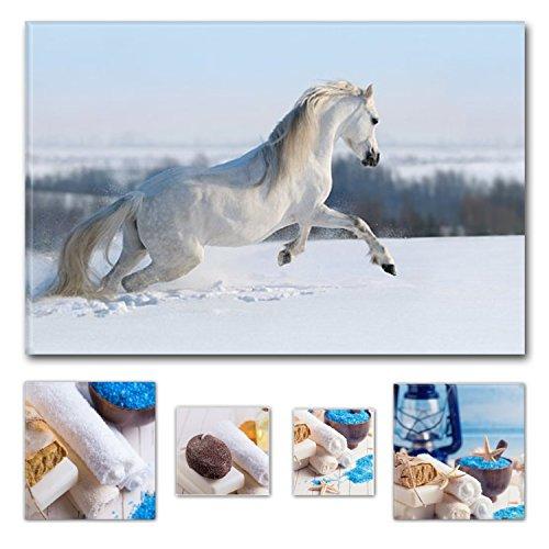 Eco Light Wall Art canvas Bundle Beautiful bianco cavallo nella neve 60x 90cm per arredamenti (Autumn Leaves Framed)