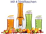 Family Smoothie-Maker 300W Orange, 4 Flaschen (300ml & 600ml je 2 in Orange & Grün)