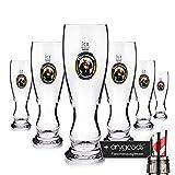 6 x Franziskaner Weissbier Glas Gläser 0,3l Bierglas Gastro Bar Deko NEU + anygoods Flaschenausgiesser