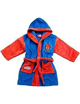 Albornoz de tela esponjosa, con capucha, para niño, de Marvel - Spiderman *05514, niño, rojo, 6-7 años