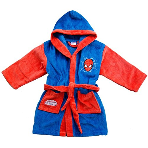 Albornoz de tela esponjosa, con capucha, para niño, de Marvel - Spiderman *05514, niño, rojo, 8-9...