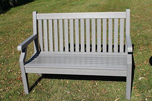 Null Wartung Teak-Effekt Polymer 2 Sitzer Gartenbank - Graue Farbe