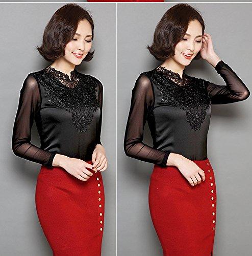 ACVIP Femme Blouse en Dentelle T-shirt Manche Longue Top Slim Noir