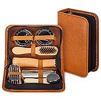 make it funwan Kit lustrascarpe con elegante custodia in pelle PU, kit spazzola lustrascarpe da viaggio in 7 pezzi