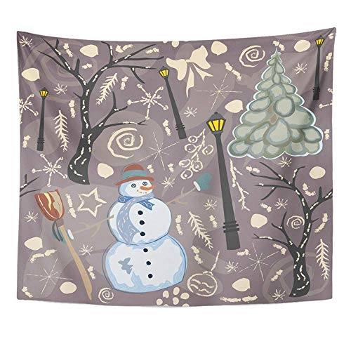 stry, Tapestry Wall Hanging, Art Decor Wall, Creative Winter Happy Snowman Christmas Tree Forest Trees Funky Purple 60