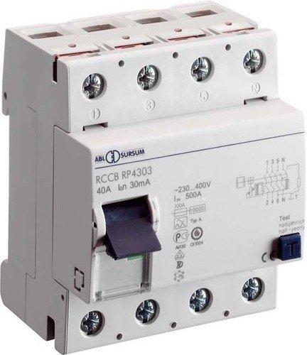 ABL SURSUM FI-Schutzschalter RP4303 4p, 40A, 0,03A Fehlerstrom-Schutzschalter 4011721100463