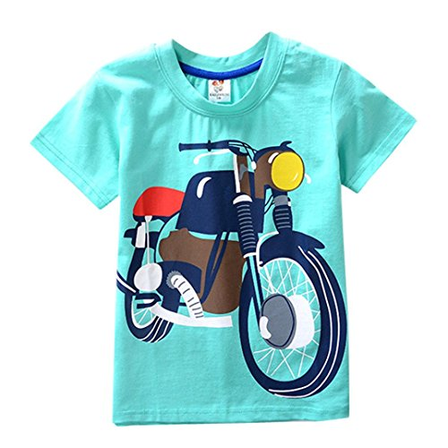 Chshe Kinder T-Shirt, 2-7 Jahre Säugling Jungen Mädchen Karikatur Motorrad Kurzarm Top Kostüm (Grün, 3 Jahre)