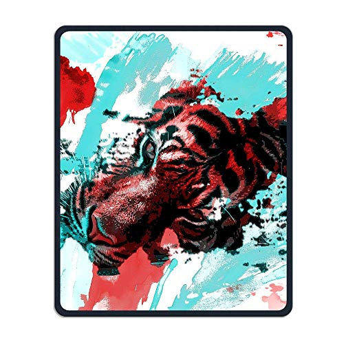 Mouse Pad Cool Colorful Tiger Illustration Rectangle Rubber Mousepad Length 8.66 Width 7.09 Inch Gaming Mouse Pad with Black Lock Edge