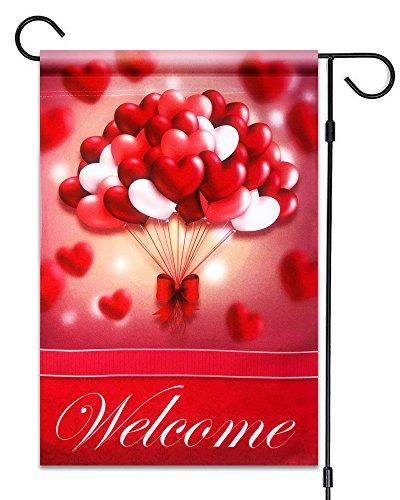 51Gruppen Valentinstag Herz Luftballons Welcome Flagge 30,5x 45,7cm Fahne Deko Valentinstag 100% Alle Wetter Polyester Kleine Größe Banner (Luftballons Leben Größe)