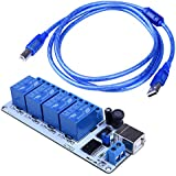 5V Relé de USB 4-Canales, Quimat Controlador de Automatización 5V Con Tutorial y Cable USB de 1.5M de Núcleo de Cobre