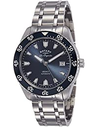 Rotary Men's Automatic Watch with Blue Dial Analogue Display and Silver Stainless Steel Bracelet GB90168/05