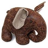 Homescapes Origineller Türstopper Stoff Fensterstopper Elefant Kunstleder braun
