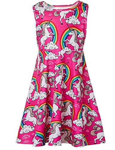 Funnycokid Kinder Sommerkleidung Mädchen Cute Pink Cartoon Prinzessin Kleid Alter 12 (7-jährige Mädchen Kleider Für)