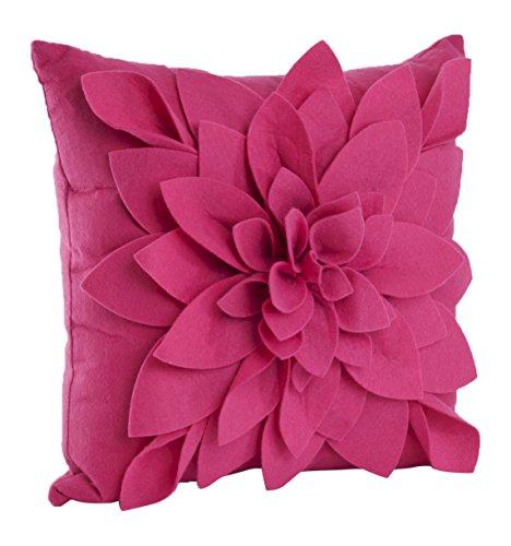 Lifestyle-blumen-kissen (SARO LIFESTYLE Saunders-Roe Lifestyle ft128. fu17s Poly gefüllt Flower Überwurf Kissen, Fuchsia, 43,2cm)