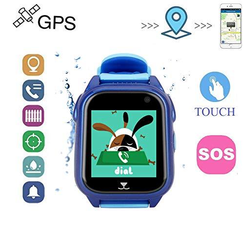 Relojes Ninos GPS con Posicionamiento de La Estación Base GPS + LBS Relojes Inteligentes Alarma de Emergencia SOS Smartwatch Niños IP67 Reloj Smartwatch Niños con Cámara y Album de Fotos Pulsera de Actividad Inteligente Despertador (Azul)
