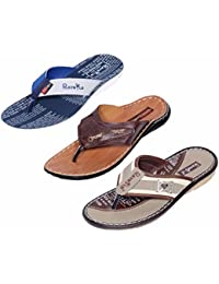 Indistar Boy 100 % PU Flip Flop House Slipper And Sandal- Pack Of 3 Pairs-White/Tan/Mouse