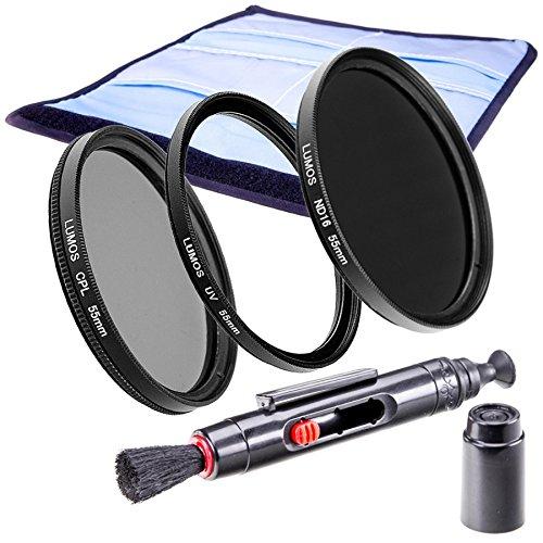 LUMOS KREATIV 55mm Filter Set mit ND16 Grau UV Polfilter und LensPen Objektiv Zubehör uneingeschränkt kompatibel mit jedem Objektiv mit 55mm Filtergewinde z.B. Sony DSC HX400V 300 FDR AX53 DT 18-55 35mm Alpha 58 6000 Nikon AF-P 18-55 Canon EF-M 18-150 IS STM EOS M5 M6 Panasonic LUMIX DMC FZ72