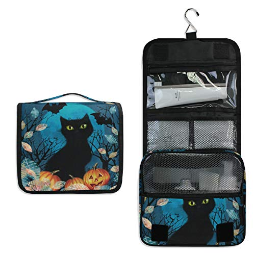 DOSHINE Autumn Animal Cat Halloween Hanging Toiletry Bag Large Storage Makeup Bag Cosmetic Bag for Women Girls Travel Bathroom