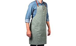 Vintage Küchenschürze aus Baumwollgewebe und Leder mit mehreren Taschen - ALASKAN MAKER N°325 - Bindebänder, Universalgröße für Damen und Herren