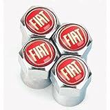 Bouchons anti-poussière pour valve de roue, chromé, rouge, pour Fiat 500, Abarth, Punto, Panda, etc.
