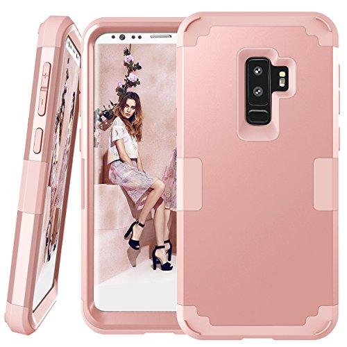 Galaxy S9Plus Fall, Daker 3in 1Hybrid Hard PC Soft Silikon Robust Armor Bumper stoßfest Rutschfeste Schutzhülle für Samsung Galaxy S9Plus (2018), Rose Gold