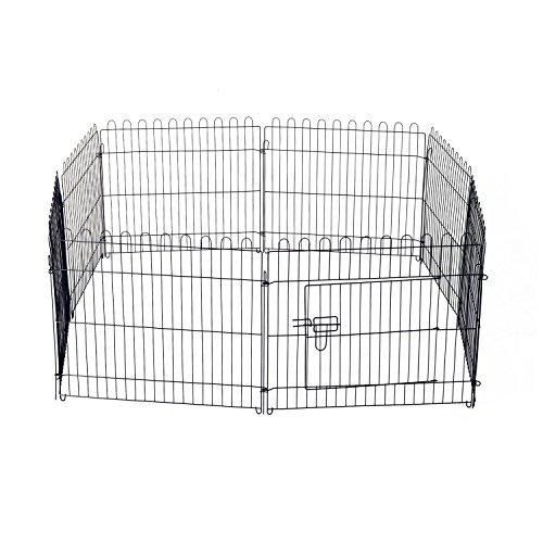 PawHut D06-025 Welpenauslauf / zaun Laufstall Freilaufgehege Hunde Achteckig, schwarz - 5