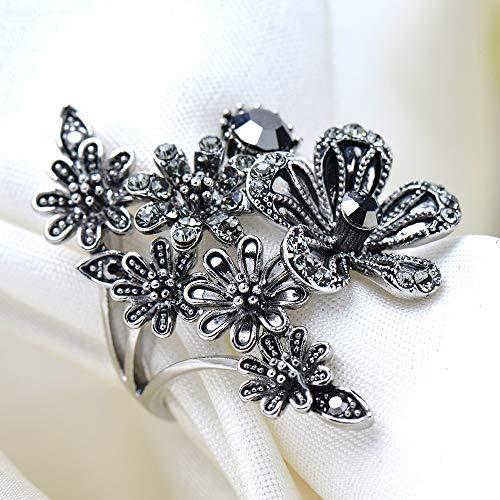 SSLL Ringe für Damen Schwarz Große Blume Ring Fashion Hochzeit Party Engagement Schmuck Größe 7-9,9 (9 Damen Fashion Ringe Größe)