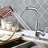 AMZdeals 360° drehbar Wasserhahn Küche Armatur ausziehbar Küchenarmatur zwei Funktionen Spültischbatterie Spülbecken Mischbatterie chrom für Küchen