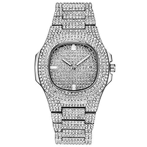 KUNDG Reloj De Hombrerelojes para Hombre Reloj Automático con Fecha De Diamante para Hombres Relojes para Hombre De Acero Inoxidable, Acero Inoxidable, C