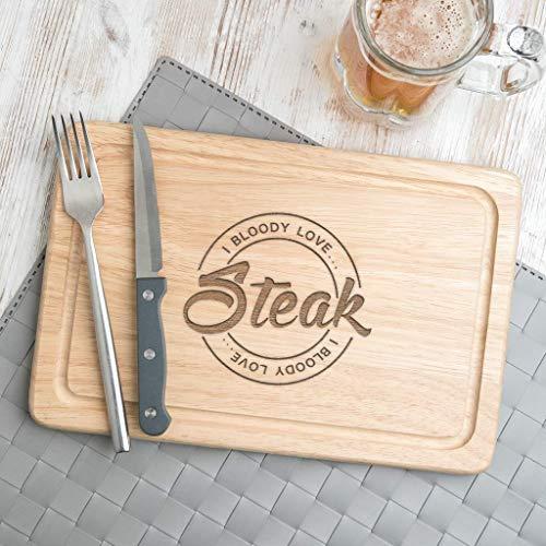 Steak Schneidebrett -'I bloody love Steak' - Steak Brett für BBQ Liebhaber - Grill Geschenke für...