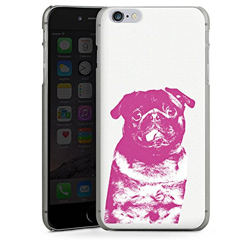Apple iPhone 8 Plus Silikon Hülle Case Schutzhülle Pink Pug Hund Mops Hard Case anthrazit-klar