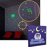 Set 160 Stelle Kit Grande Luna Adesive 2 Generazione Fluorescenti Illuminano Al Buio Da Appendere In Cameretta Bambini Neonati Come Decorazione Parete Soffitto Regalo Sticker Interruttore Muro