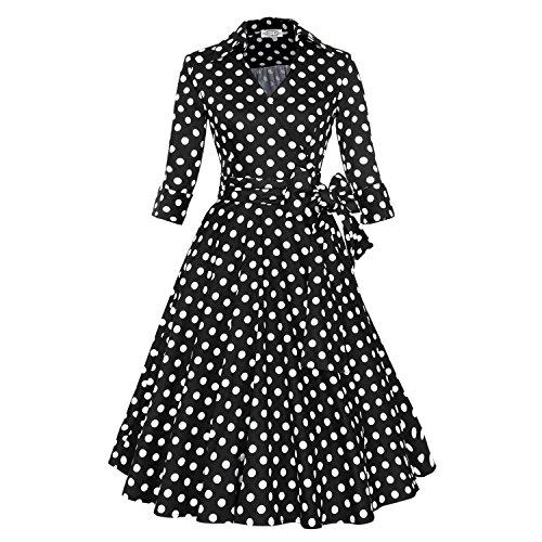 50s Retro vintage Rockabilly kleid Hepburn Stil V-Ausschnitt Partykleid Cocktailkleider Abendkleider Wieß XXL